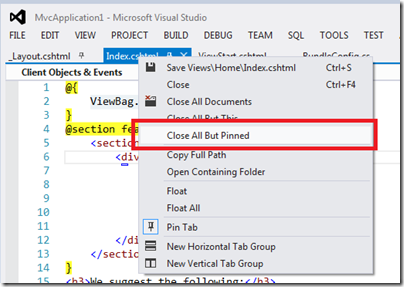 ClosedAllButPinnedVisualStudio2012