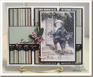 vintage christmas snow boy card idea 500