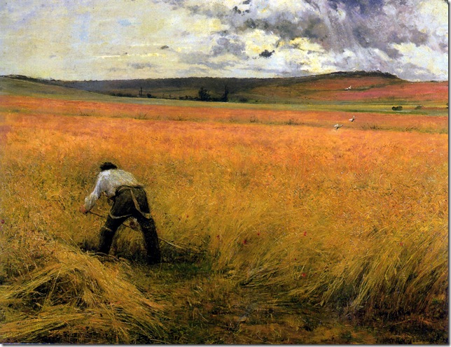 Jules Bastien-Lepage Les Blés mûrs oil on canvas 50.7 x 105 signed and dated at lower right 1880 Musée de Guézireh, inv. 840