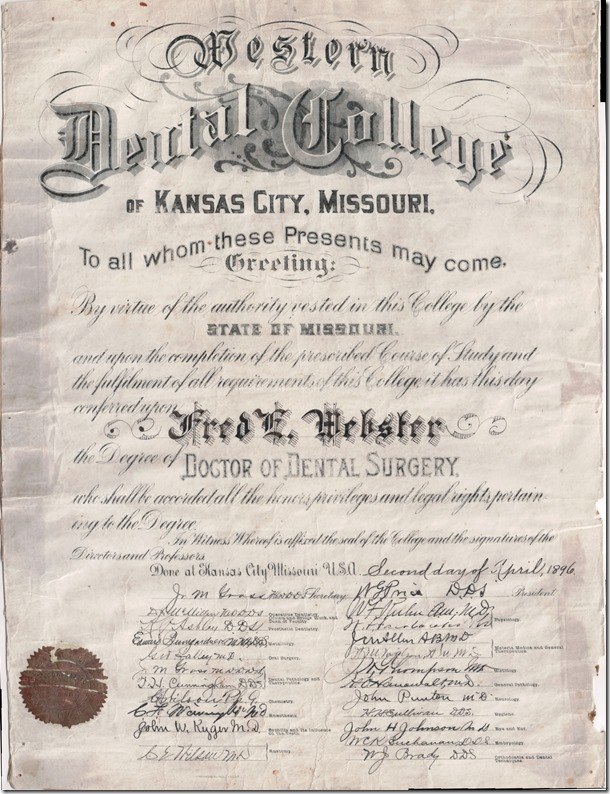 Frederick E. Webster Doctor of Dental Surgery Diploma 1896