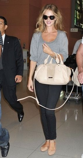 Rosie Huntington Whiteley In Burberry Again This Time With Suede Leather Bowling Bag