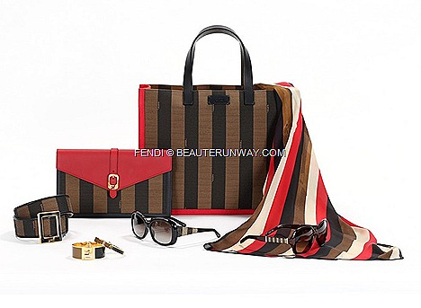 Fendi Pequin Bags Accessories Fall Winter 2013 Capsule Collection shopping bag, clutch bag silk stole, bracelets, sunglasses belt Spring Summer 2014 Pequin fabric iconic Fendi black tobacco colours red leather store Josef Hoffman