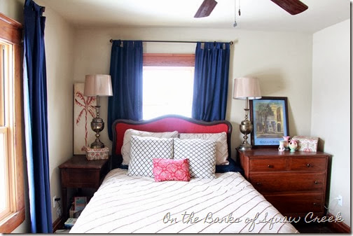 navy raspberry bedroom