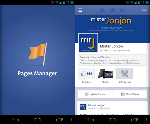 page manager facebook app nokia