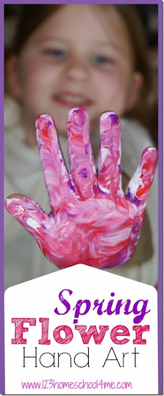 Spring Flower Hand Art Craft for Preschoolers - This is such a fun, pretty art project for kids. This is great for spring, mothers day, or as a childhood keepsake!
