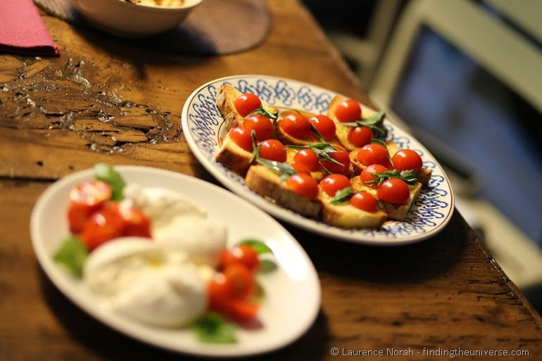 tomato on bruschetta and burrata