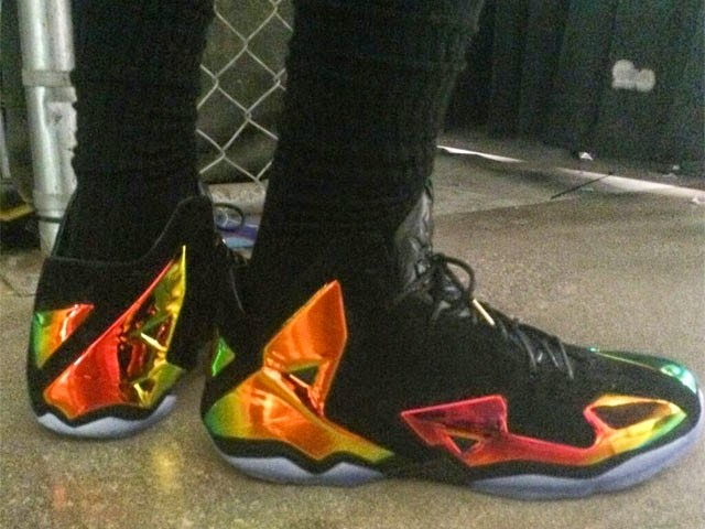 7da483a07cd ... King James Wears Nike LeBron 11 Elite Finals PE on Media Day ...