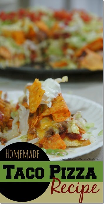 Easy Taco Pizza Recipe - our families favorite homemade pizza that takes LESS THAN 1 HOUR!! This is our favorite dinner ideas and this recipe is AMAZING and so easy!