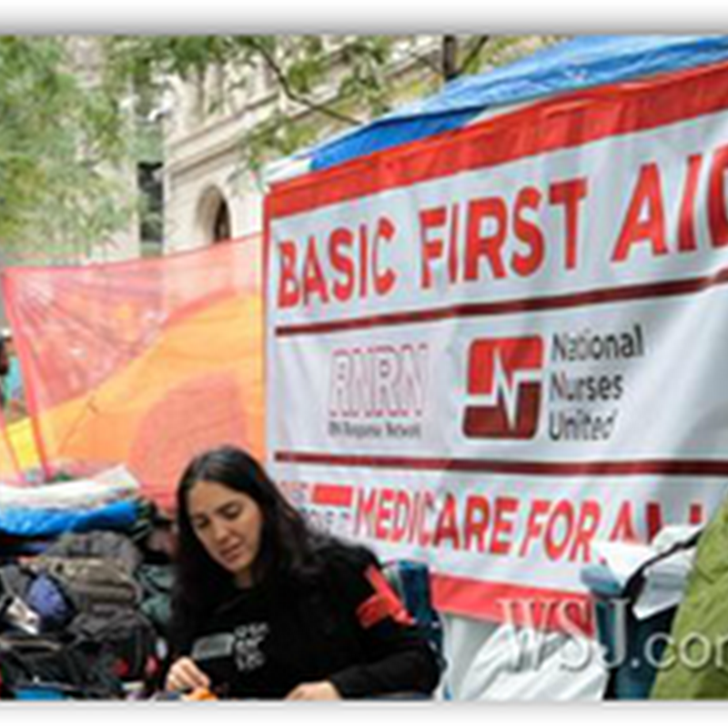 Nurses And Other Healthcare Professionals Occupy Wall Street With Make Shift Clinic