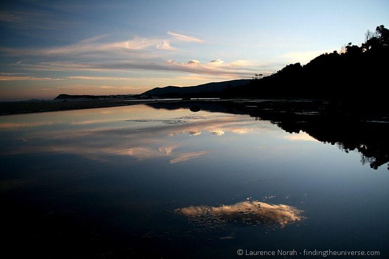 Cloud reflection lagoon beach Tasmania