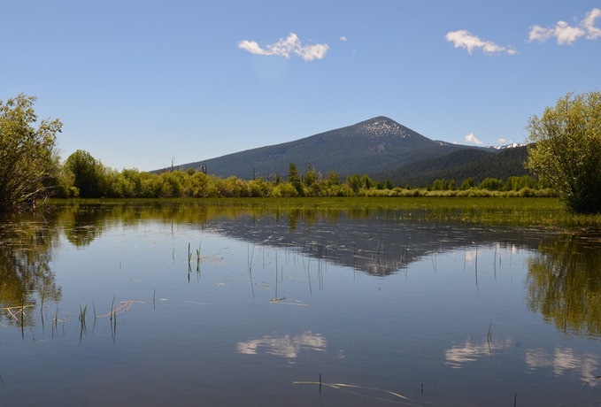 reflections of Harriman Mountain from Pelican Bay