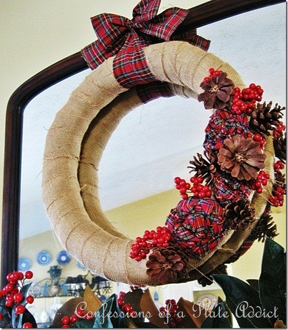CONFESSIONS OF A PLATE ADDICT Burlap and Plaid Wreath 3