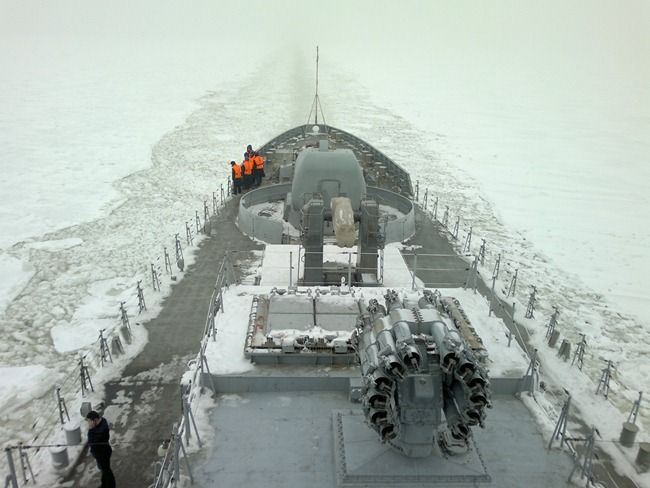 Talwar-Class Frigate [Krivak III class] INS Teg [F45] undergoing cold weather trials in Russia prior to being handed over to the Indian Navy