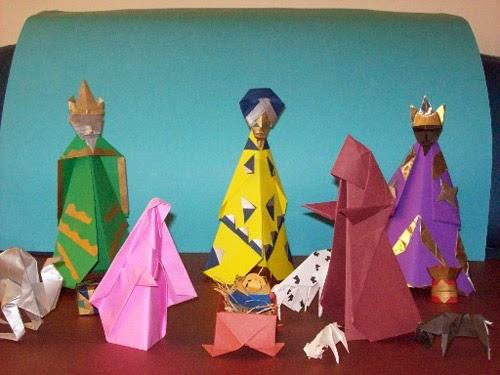 Presépios criativos - presépio de origami