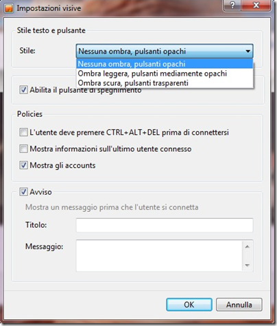 Logon Screen for Windows 7 Impostazioni avanzate