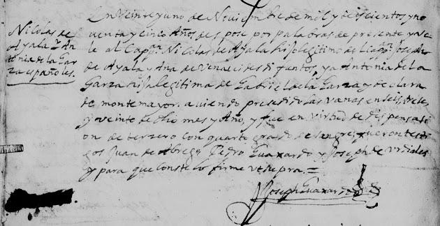 Nicolas de Ayala and Antonia de la Garza, familysearch, Monterrey, 1695 Marriages Pg 55.jpg