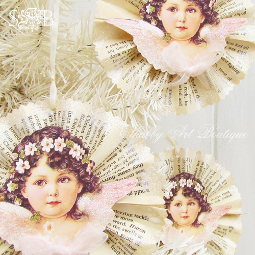 Shabby Art Boutique Victorian Angel Ornament 2