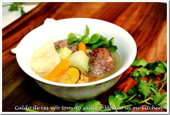 Caldo de res, Mexican beef and vegetables soup a traditional dish.