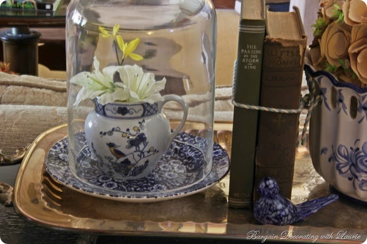 Blue and white birds in vignettes-Bargain Decorating with Laurie