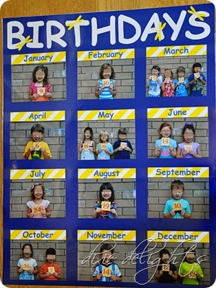 Classroom Birthday Picture Chart Dixie Delights