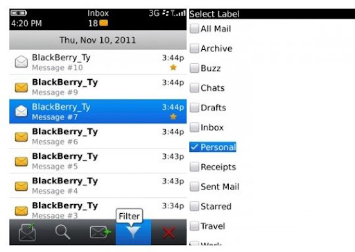 Gmail en BlackBerry 5