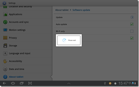Samsung Galaxy Tab 10.1 Firmware Update - Finish download and start install