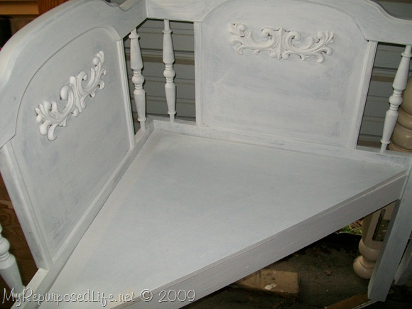 corner bench from queen headboard
