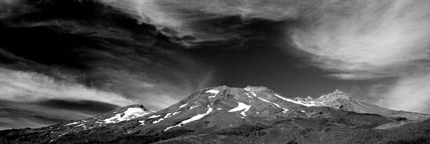 Black and white mountain