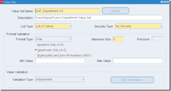 OracleAppsnFusion: Create Value Set for Accounting Flexfield