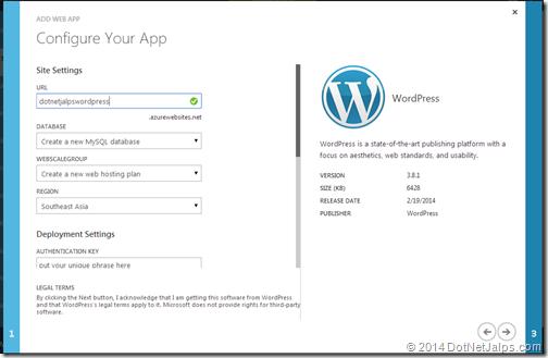 Configuration settings on wordpress blog on windows azure