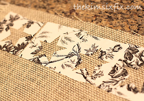 Silhouette cut stencils on burlap