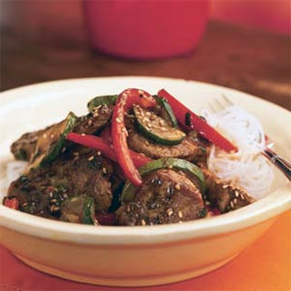 Pork and Stir-Fried Vegetables with Spicy Asian Sauce.
