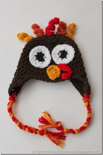 Crochet baby turkey hat pattern