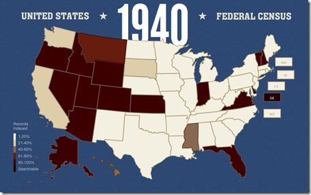 Familysearch索引1940年度人口普查进度截至2012年4月25日
