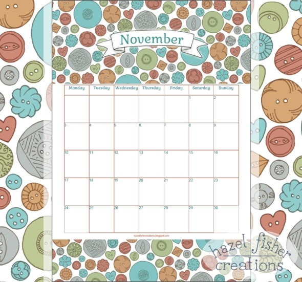 2014 November 01 free printable calendar hazel fisher creations