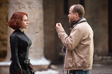 Marvel's Avengers: Age Of Ultron..L to R: Scarlett Johansson (Black Widow/Natasha Romanoff) on set with Director (Joss Whedon)..Ph: Jay Maidment..©Marvel 2015
