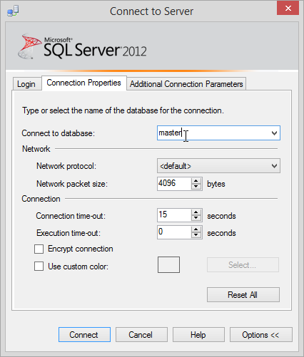 SSMS Connect to Server | Connection Properties | Connect to database option