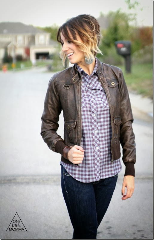 Update a men's plaid shirt with a leather jacket, big earrings and cute boots.