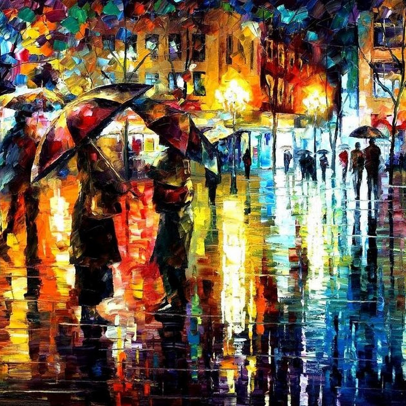 Leonid Afremov's Colorful Palette Knife Paintings