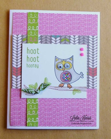 Laughing Lola and Owls CTMH stamp set  with Topiary Mini-Chevron Ribbon