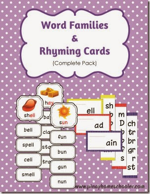 Word Families and Rhyming Cards Complete Learning Pack