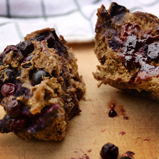 5-Minute Vegan Protein Blueberry Muffin for One.