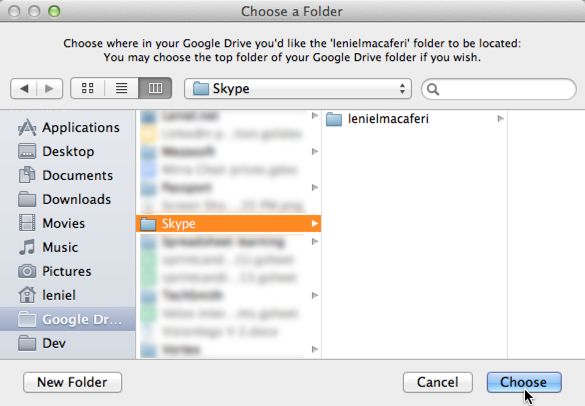 Figure 3 - Choose an existing folder (Skype) on Google Drive or create New Folder