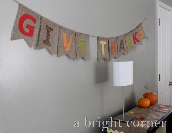 give thanks banner with burlap