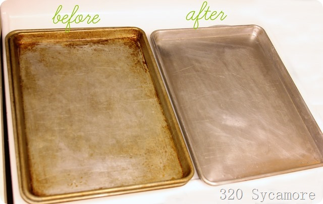 how to clean cookie baking sheets