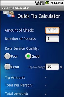 Quick Tip Calculator - screenshot thumbnail