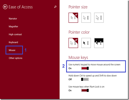 """How to disable """"use of numeric keypad to move mouse around the screen"""""""