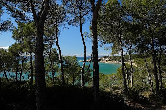 Platja i torre de la Mora des del camí de ronda de Tamarit.Tarragona, Tarragonès, Tarragona