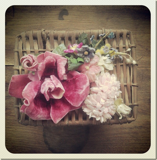 french basket with flowers