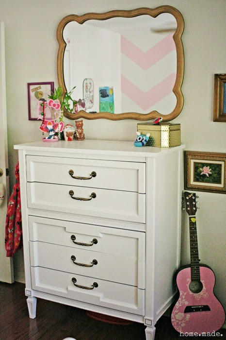White Dresser and Golden Mirror Makeover